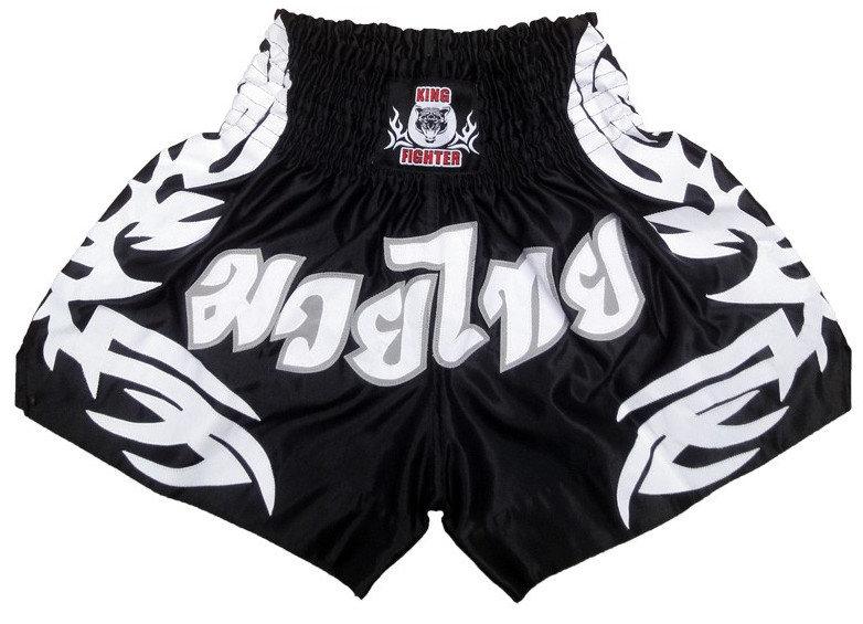 Bílo-černé thaiboxerské trenky King fighter