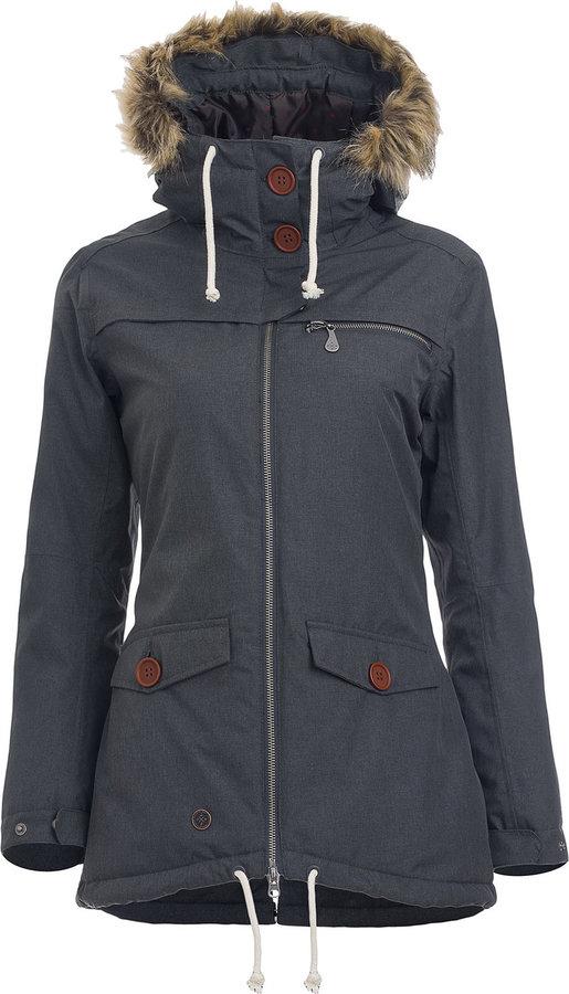 Šedá zimní dámská bunda s kapucí Woox - velikost 34