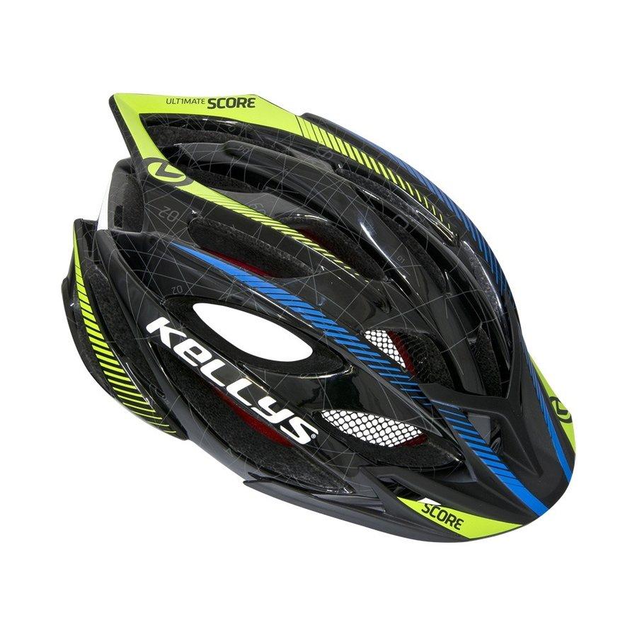 Cyklistická helma - Kellys Score černo-modro-limetková - M/L (57-61)