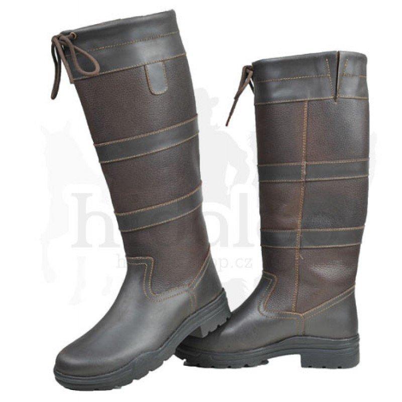 Hnědé zimní unisex jezdecké boty HKM