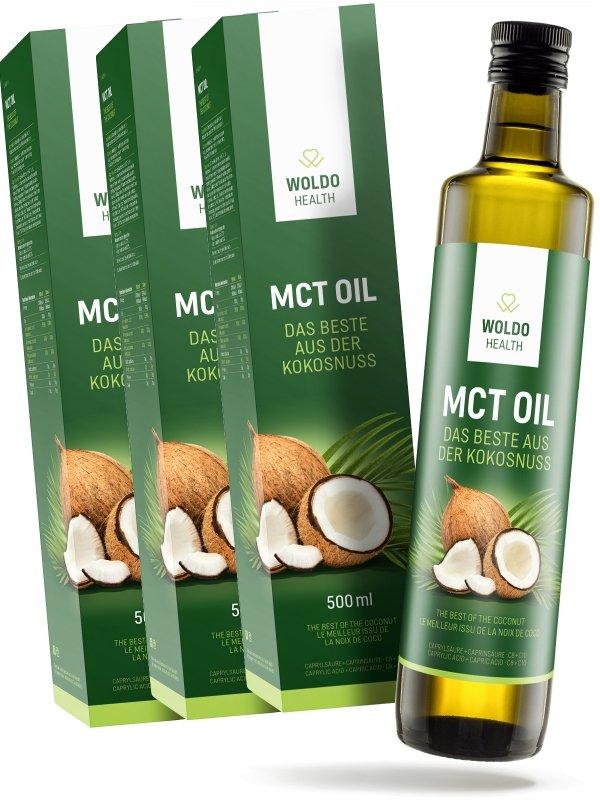 Olej - 2+1 Woldohealth MCT olej 3x500 ML ( 100% KOKOSOVÉHO OLEJE)