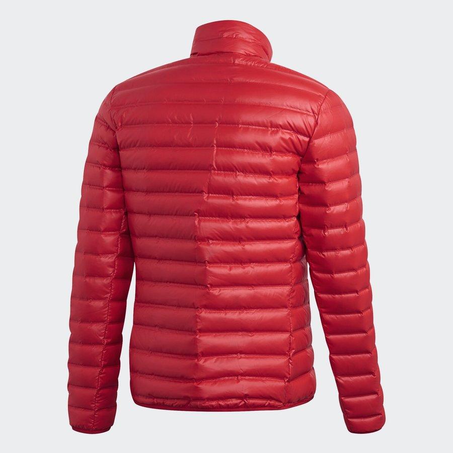 Červená zimní pánská bunda s kapucí Adidas - velikost XL