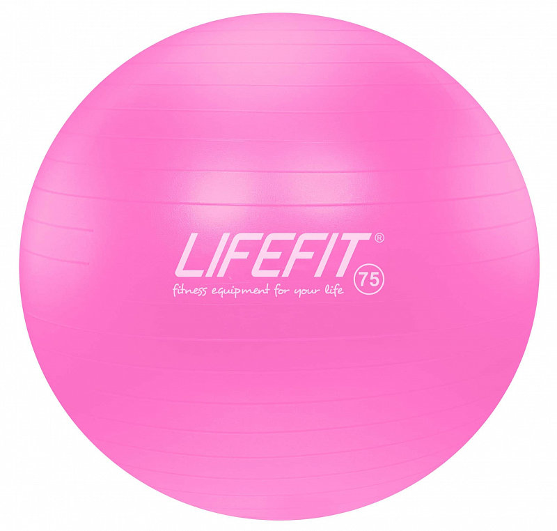 Růžový gymnastický míč ANTI-BURST, Lifefit - průměr 75 cm