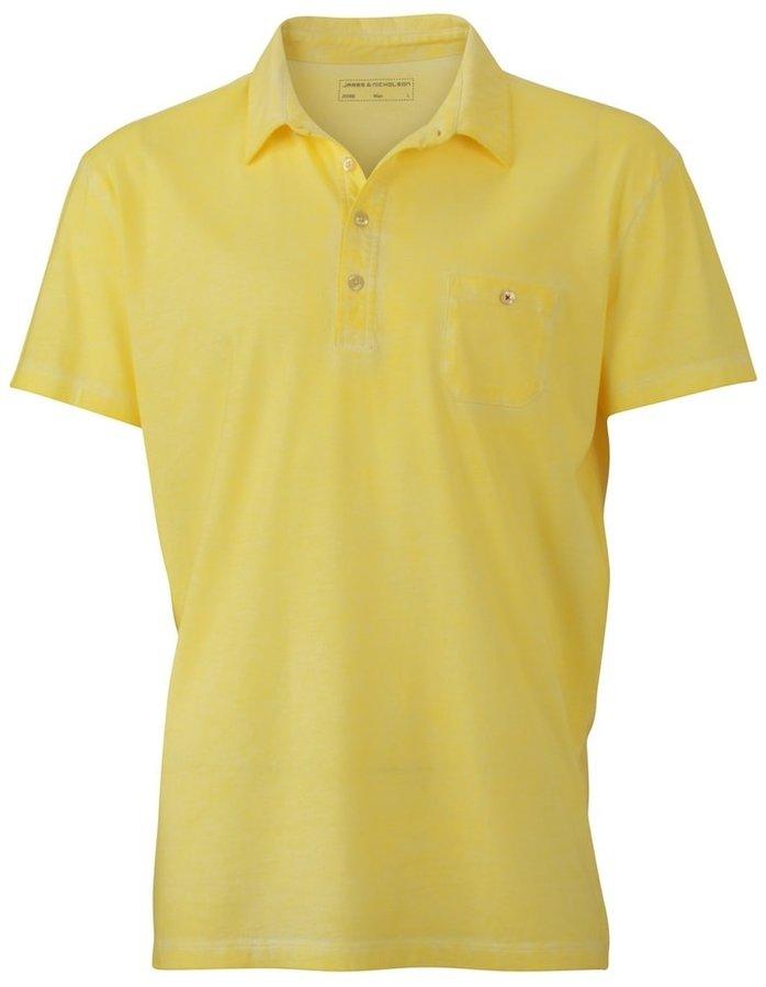 Žlutá pánská polokošile s krátkým rukávem James & Nicholson - velikost L