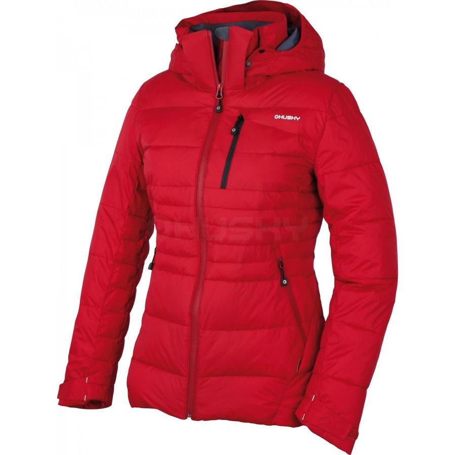 Červená zimní dámská bunda s kapucí Husky - velikost S