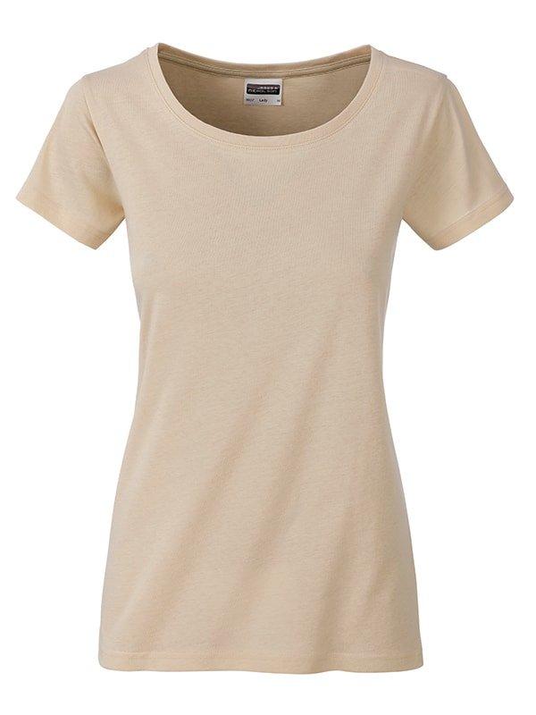 Béžové dámské tričko s krátkým rukávem James & Nicholson - velikost S