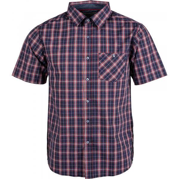 Červeno-modrá pánská košile s krátkým rukávem Willard