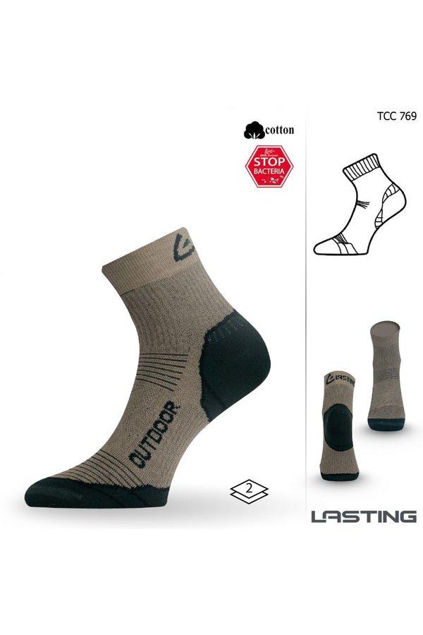 Béžové pánské trekové ponožky Lasting - velikost 34-37 EU