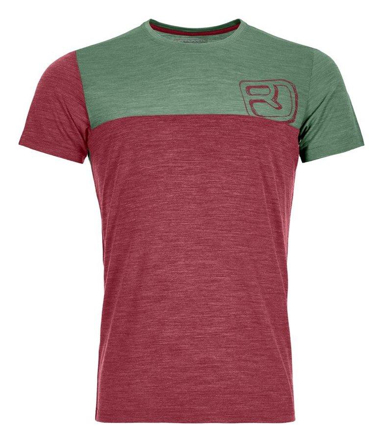 Červeno-zelené pánské termo tričko s krátkým rukávem Ortovox