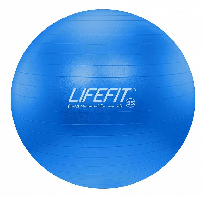 Modrý gymnastický míč ANTI-BURST, Lifefit - průměr 55  cm