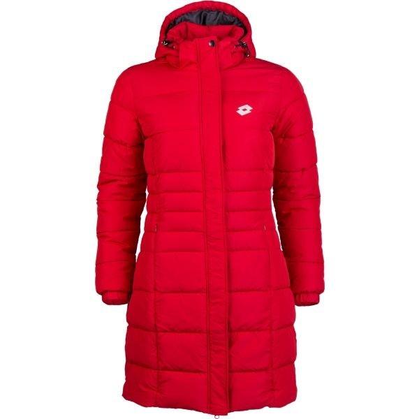 Červený prošívaný dámský kabát Lotto - velikost XS