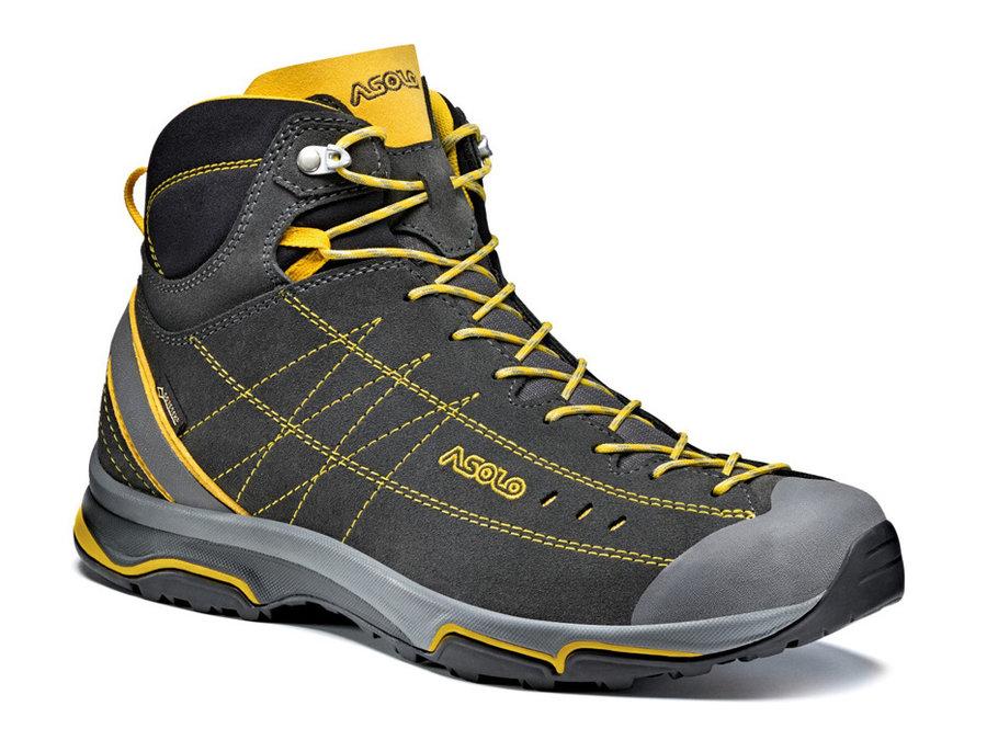 Šedo-žluté voděodolné pánské trekové boty ASOLO