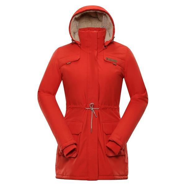 Oranžový dámský kabát s kapucí Alpine Pro - velikost L