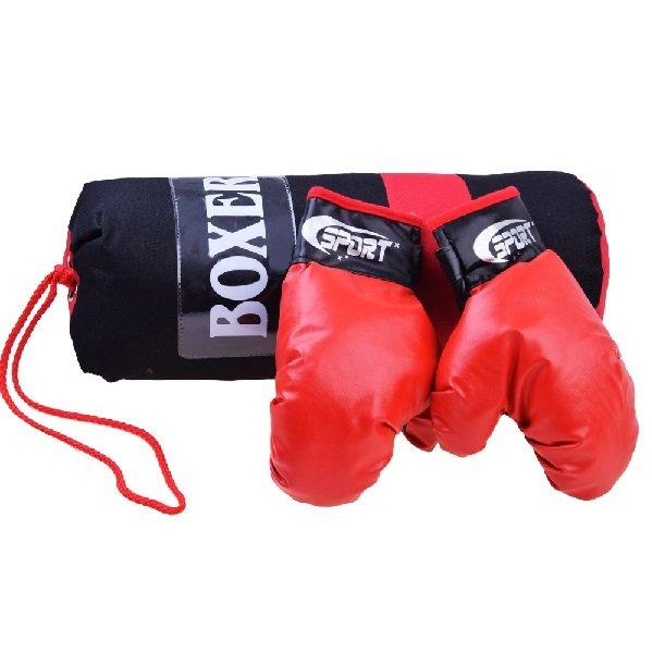 Černo-červená dětská boxovací sada 1x pytel, 1x rukavice
