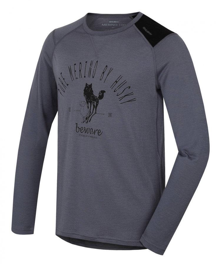 Šedé pánské termo tričko s dlouhým rukávem Husky - velikost L