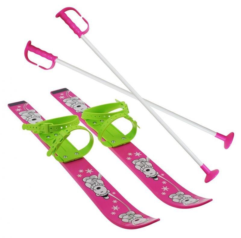 Růžová dětská sada na sjezdové lyžování Sulov - délka 70 cm