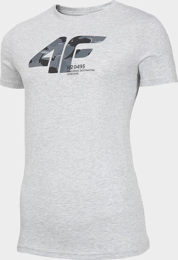 Šedé pánské tričko s krátkým rukávem 4F - velikost XXL