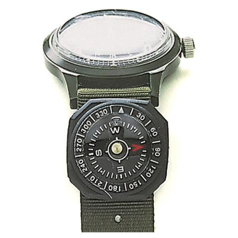 Kompas - Kompas 360° na hodink. pásek pogumovaný ČERNÝ