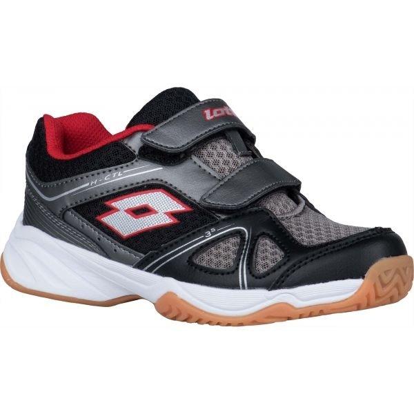 Černo-šedé dětské boty na volejbal Lotto