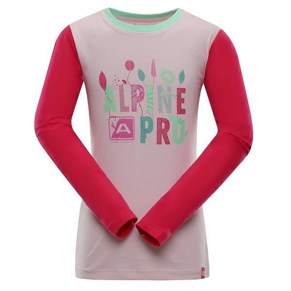 Růžové turistické tričko s dlouhým rukávem Alpine Pro - velikost 128-134