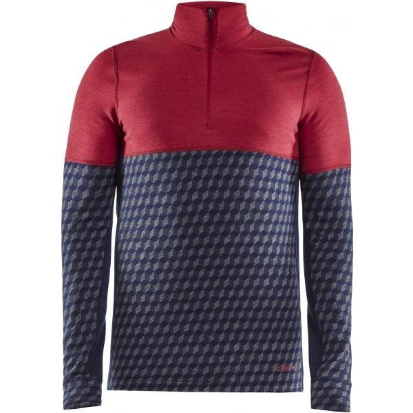 Červeno-modré pánské funkční tričko s dlouhým rukávem Craft