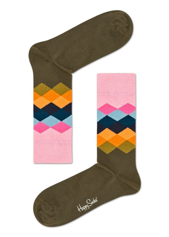 Ponožky - Happy Socks khaki ponožky s barevným vzorem Faded Diamond - 41-46