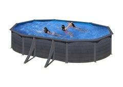 Nadzemní oválný bazén GRE - délka 610 cm, šířka 375 cm a výška 120 cm