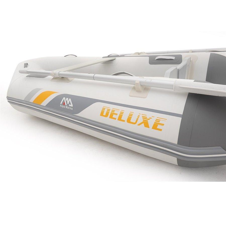 Bílý nafukovací člun s dřevěnou podlahou pro 4 osoby DELUXE, Aqua Marina