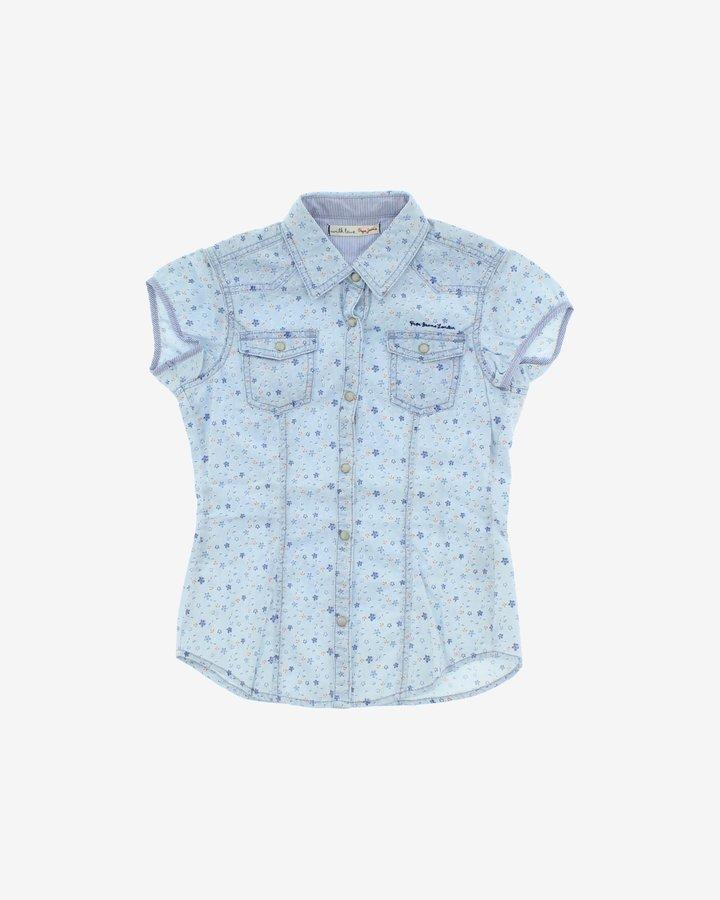 Modrá dětská dívčí košile s krátkým rukávem Pepe Jeans - velikost 104
