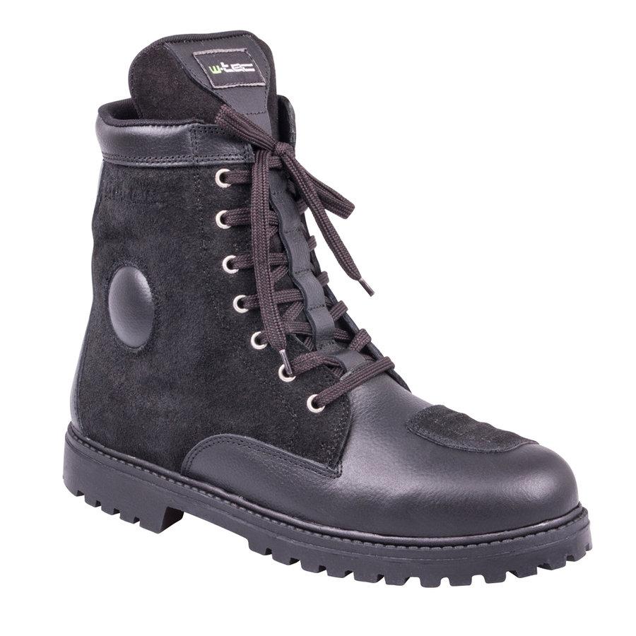 Černé vysoké pánské motorkářské boty Highlander, W-TEC