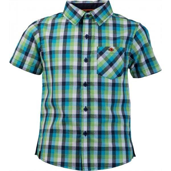 Modro-zelená chlapecká košile s krátkým rukávem Lewro