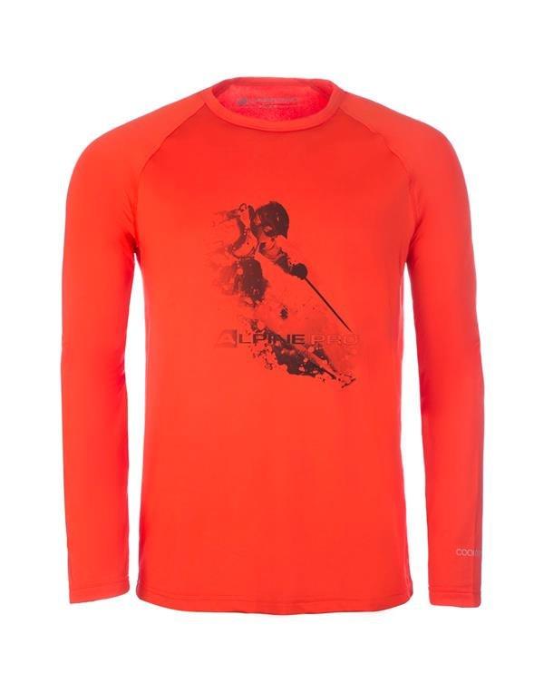 Oranžové pánské tričko s dlouhým rukávem Alpine Pro - velikost XXL