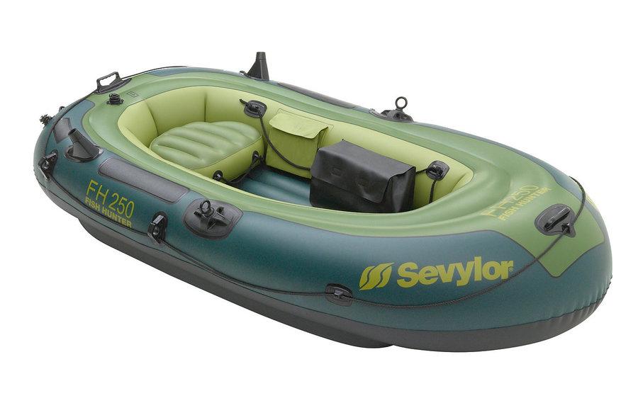 Zelený nafukovací rybářský člun s nafukovacím dnem FH 250, Sevylor