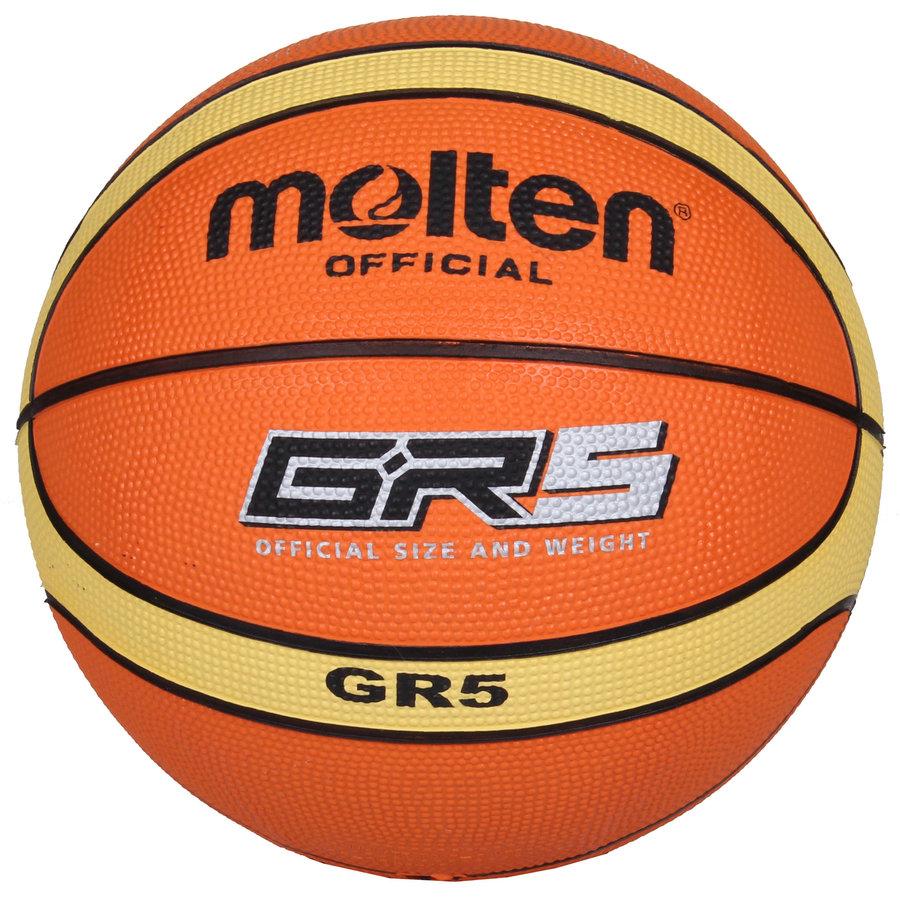 Oranžový basketbalový míč BGR5, Molten - velikost 5
