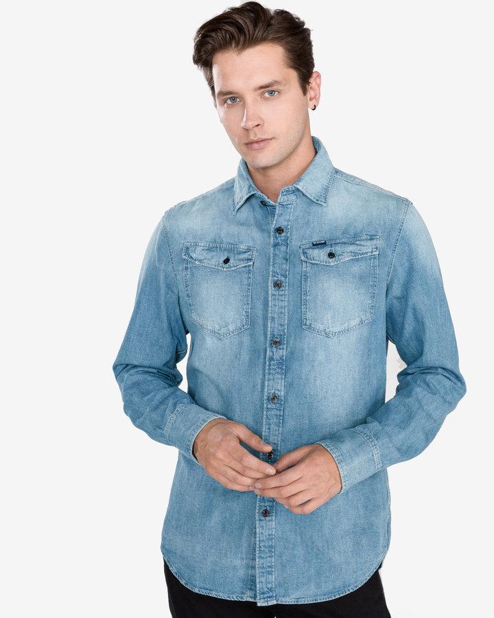 Modrá pánská košile s dlouhým rukávem G-Star RAW - velikost M