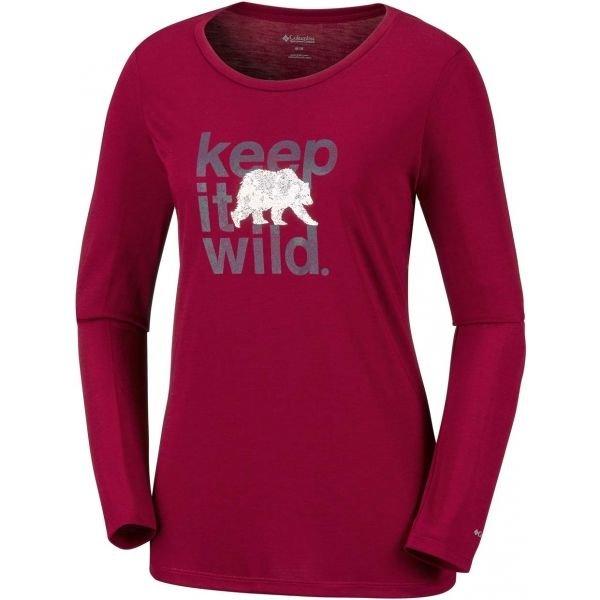 Červené dámské tričko s dlouhým rukávem Columbia