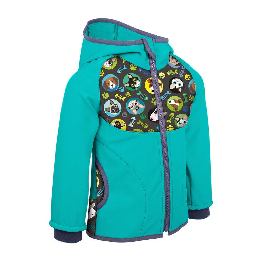 Modrá softshellová dětská bunda Unuo - velikost 74
