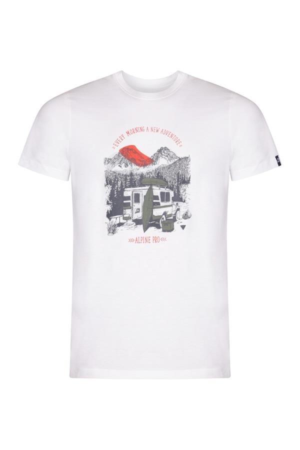 Bílé pánské turistické tričko s krátkým rukávem Alpine Pro