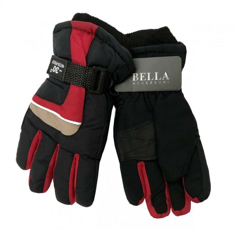 Černo-červené dětské lyžařské rukavice