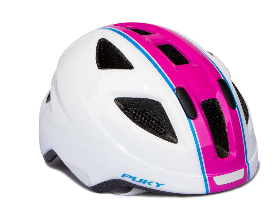 Cyklistická helma - PUKY - Přilba PH 8-M - bílá / růžová - velikost 51-56 cm