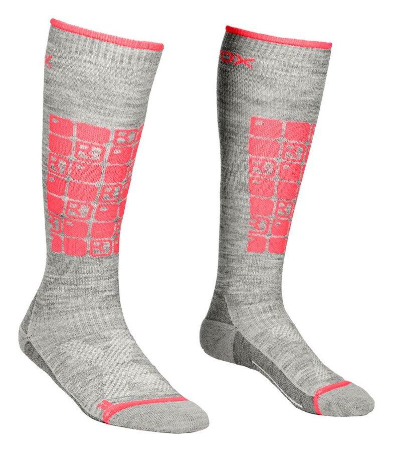 Růžovo-šedé dámské lyžařské ponožky Ortovox