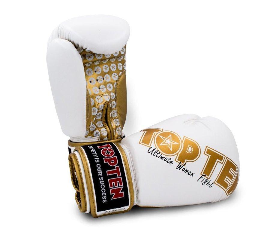 Boxerské rukavice - Boxerské rukavice Top Ten Women Fight - bílá/zlatá - bílá - velikost 10