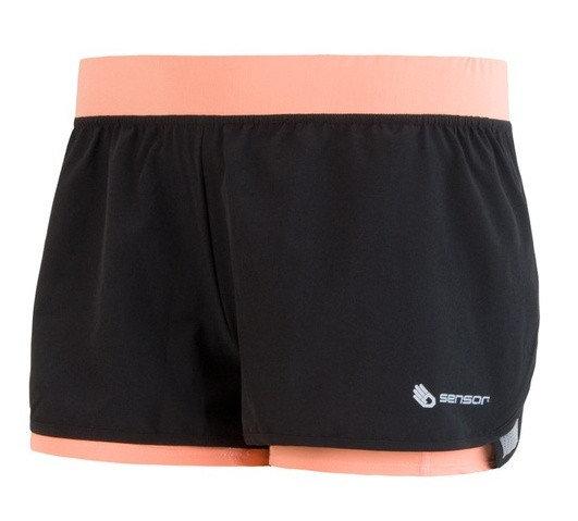 Černo-růžové dámské běžecké kraťasy Sensor