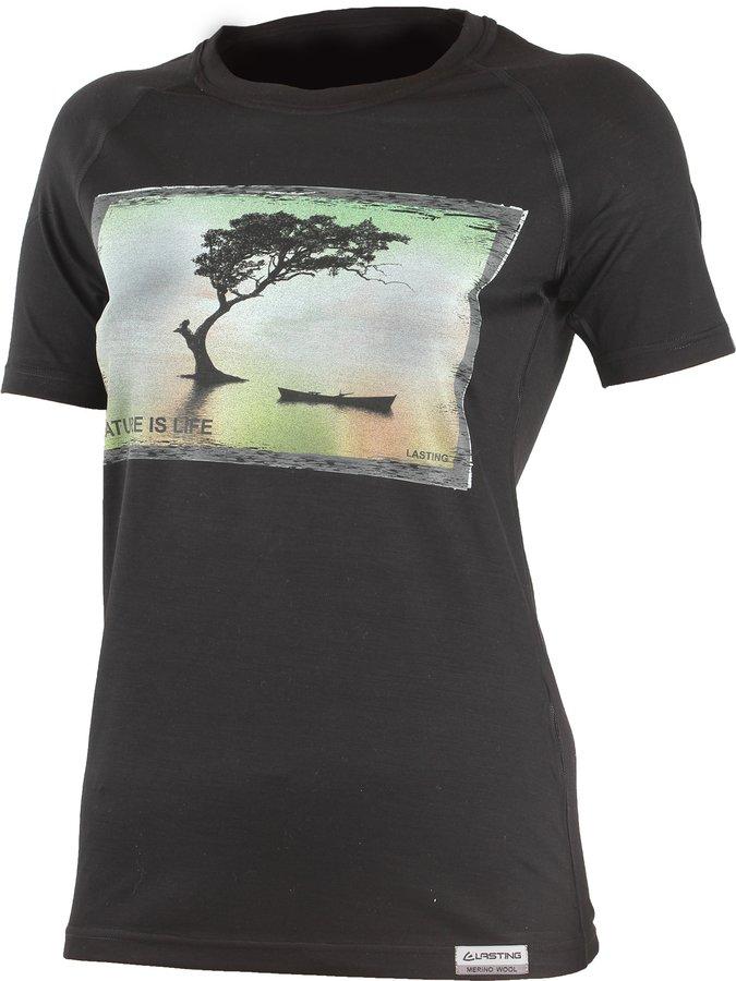 Černé dámské tričko s krátkým rukávem Lasting - velikost M