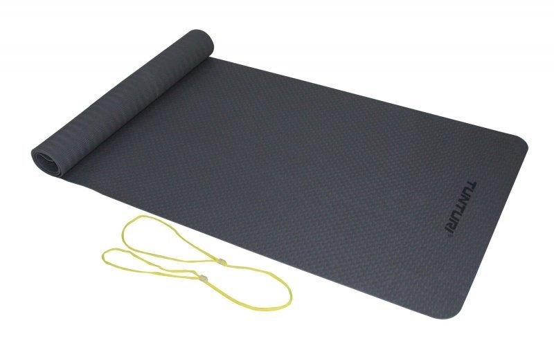 Šedá podložka na jógu Tunturi - délka 183 cm a tloušťka 0,3 cm