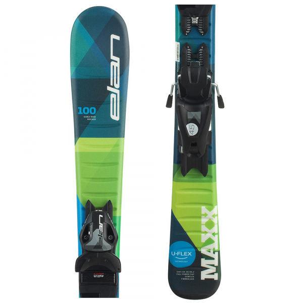 Modro-zelené chlapecké lyže s vázáním Elan