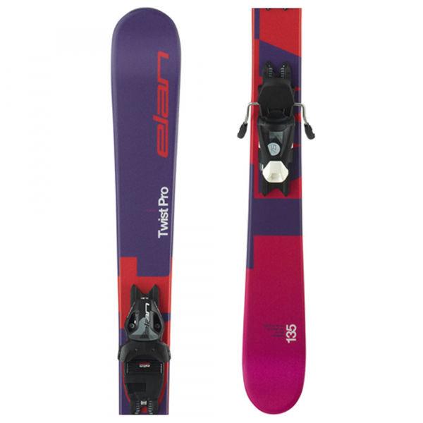 Fialovo-růžové dívčí lyže s vázáním Elan - délka 125 cm