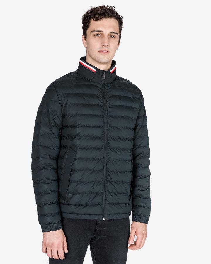 Černá prošívaná pánská bunda Tommy Hilfiger - velikost XL