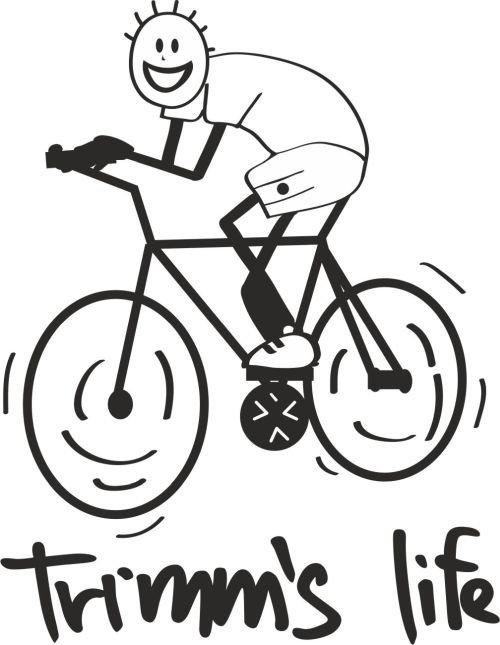 Červeno-oranžové pánské tričko s krátkým rukávem Cyklista, Trimmslife - velikost L