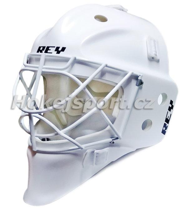 Bílá brankářská maska - senior HOMG-019 FG CAT EYE, Rey - velikost 56-60 cm